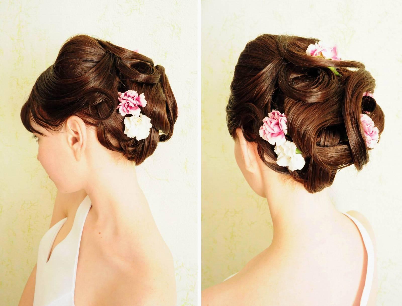 Свадебная прическа длинные волосы с живыми цветами фото